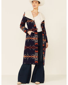 Powder River Outfitters Women's Navy Aztec Print Hooded Long Wool Coat , Navy, hi-res