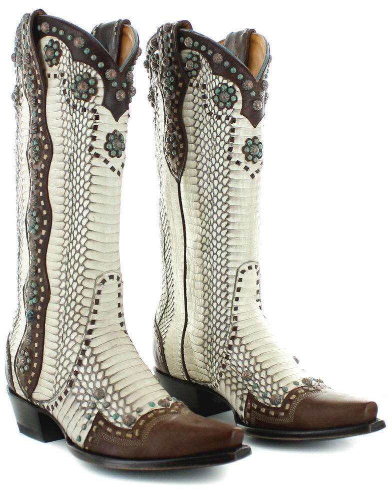 Old Gringo Women's Cheryl Natural Rattlesnake Western Boots - Snip Toe, White, hi-res