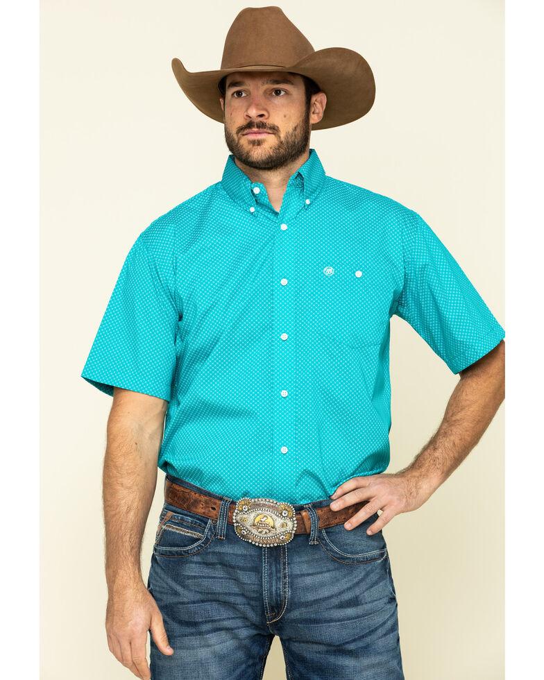 Wrangler Men's Classic Teal Geo Print Short Sleeve Western Shirt , , hi-res