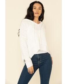 POL Women's Popcorn Chenille Hooded Sweater , Ivory, hi-res