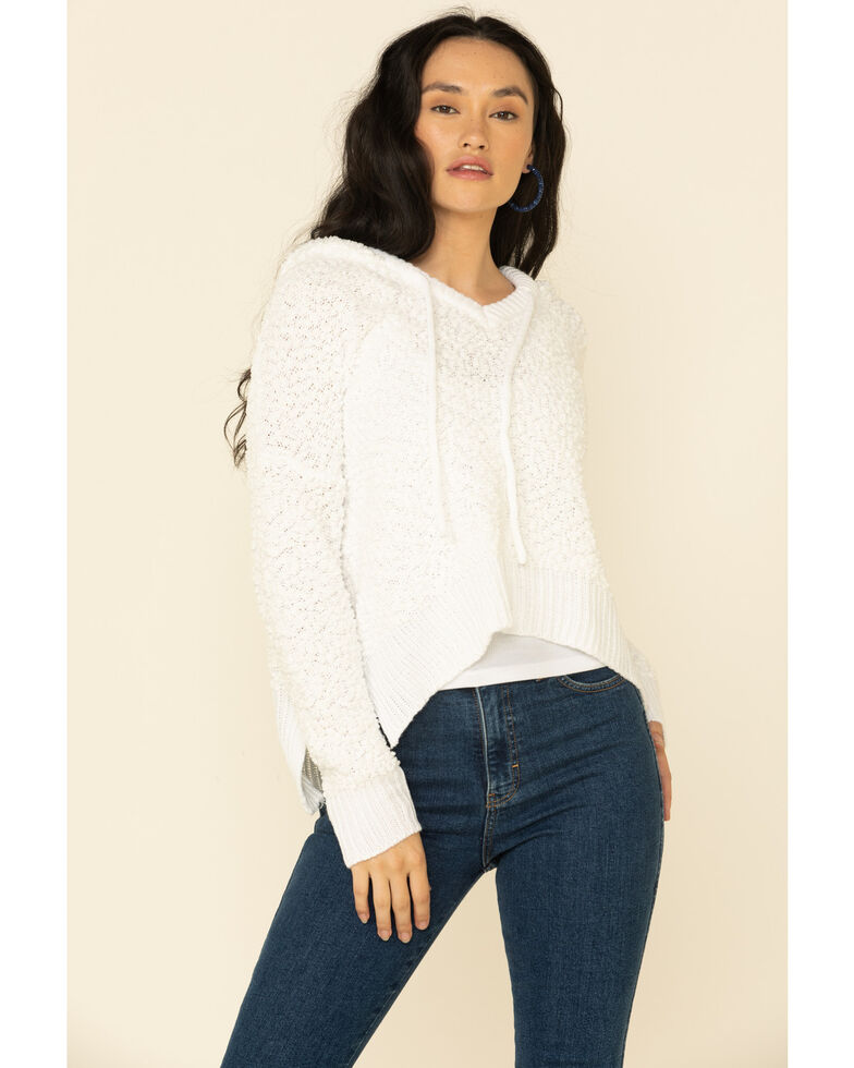 POL Women's Popcorn Chenille Hooded Sweater , Ivory, hi-res