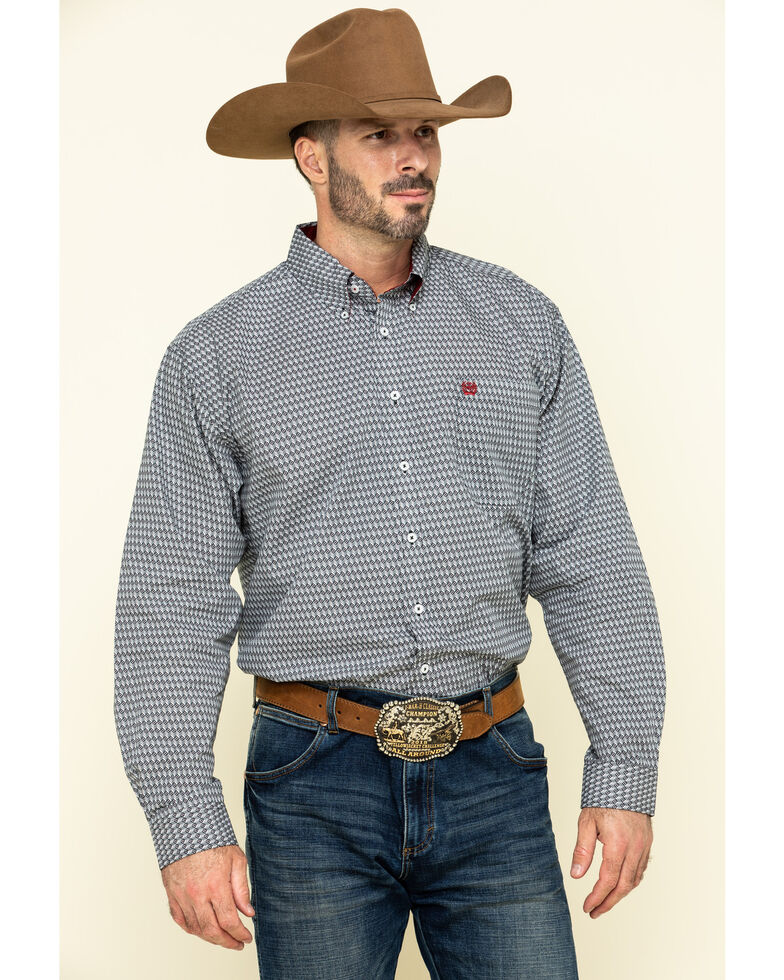 Cinch Men's Multi Geo Print Plain Weave Long Sleeve Western Shirt , Multi, hi-res