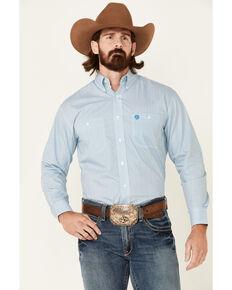 George Strait By Wrangler Men's Teal Geo Print Long Sleeve Button-Down Western Shirt - Big, Teal, hi-res