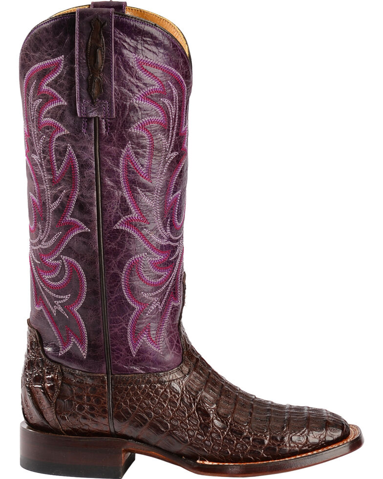 Lucchese Handmade 1883 Women's Georgia Hornback Caiman Cowgirl Boots, Barrel Brn, hi-res