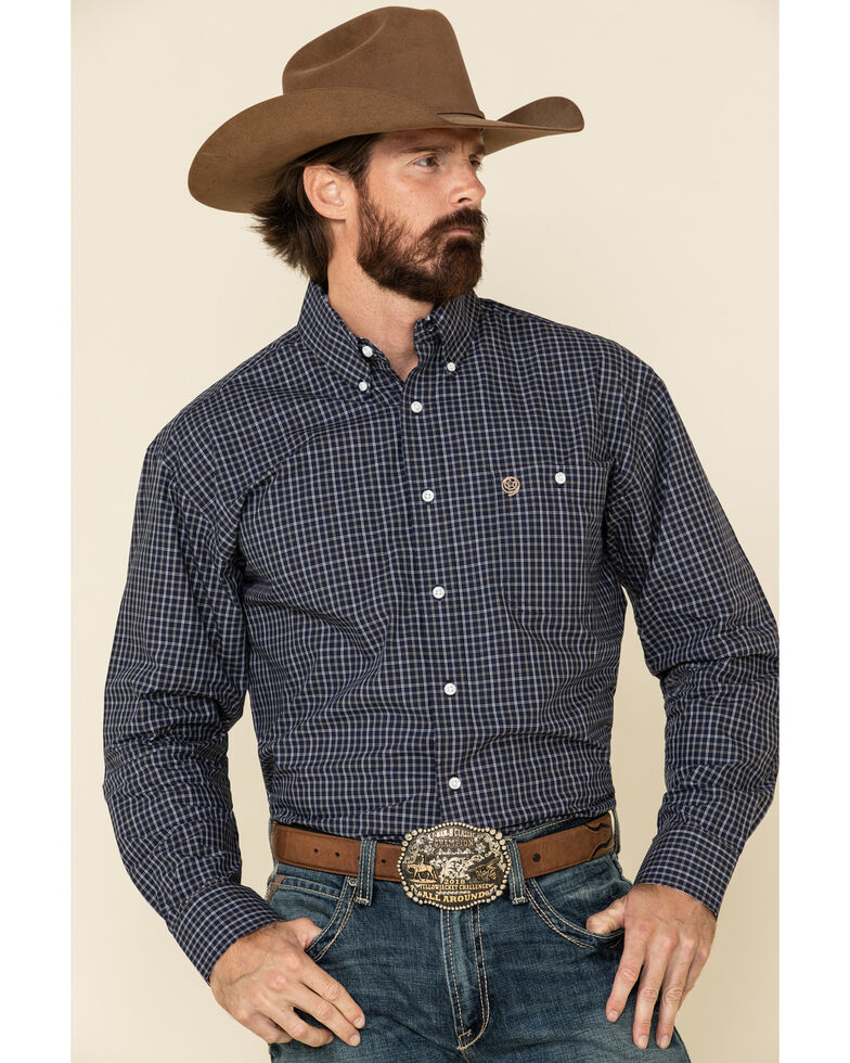 George Strait By Wrangler Men's Navy Small Plaid Long Sleeve Western Shirt - Big , Navy, hi-res
