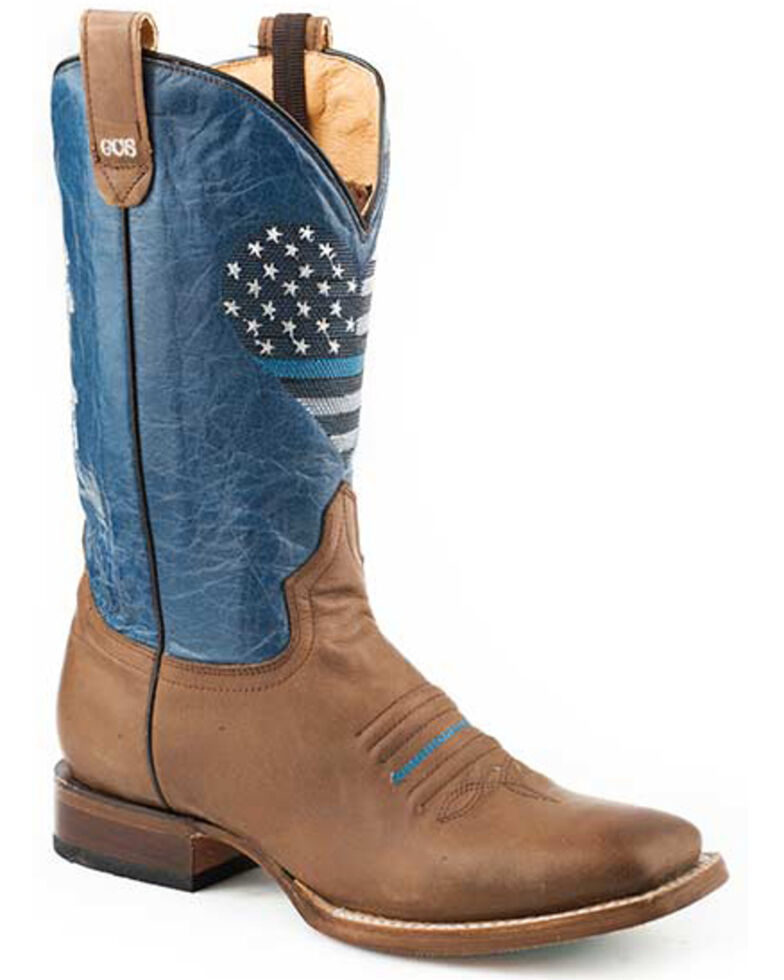 Roper Women's Thin Blue Line Heart Western Boots - Square Toe, Brown, hi-res