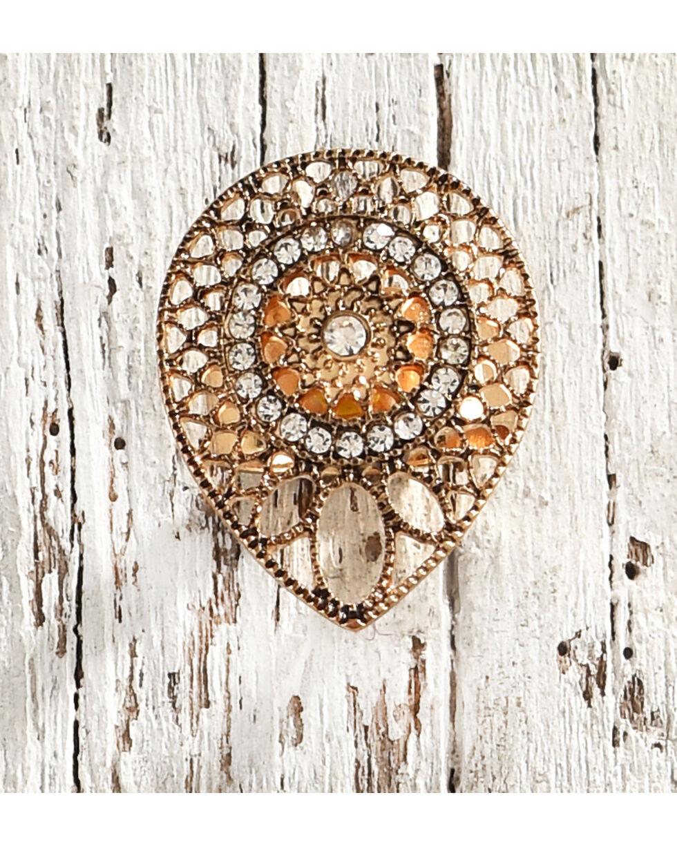 Shyanne Women's Sunburst Rhinestone Ring, Gold, hi-res