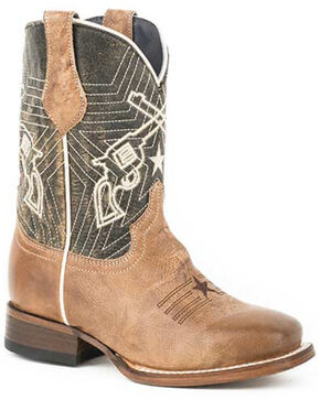 Roper Girls' Six Shooter Western Boots - Square Toe, Brown, hi-res