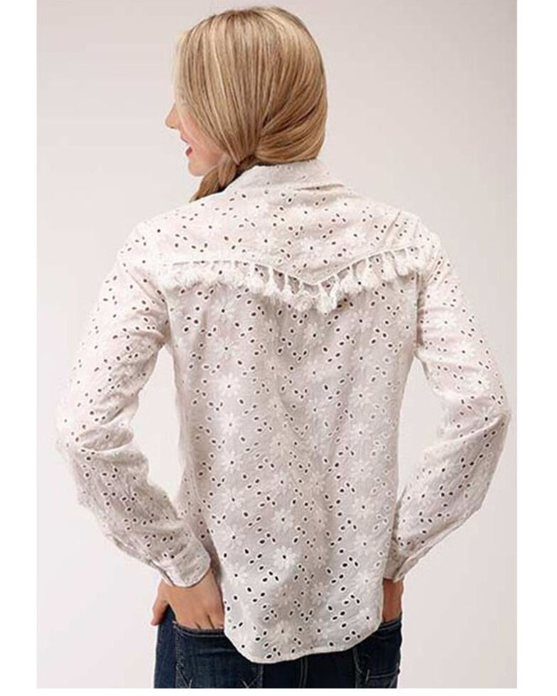 Roper Women's White Floral Eyelet Long Sleeve Snap Western Shirt , White, hi-res