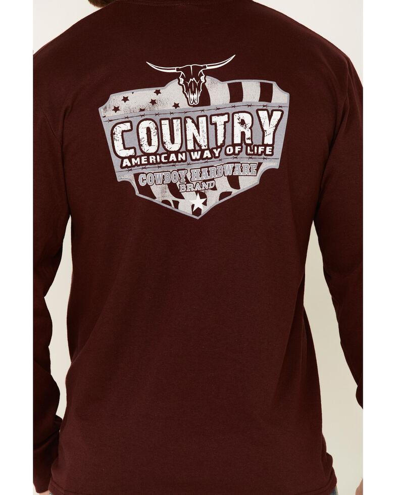 Cowboy Hardware Men's Burgundy Country Way Of Life Graphic Long Sleeve T-Shirt , Burgundy, hi-res