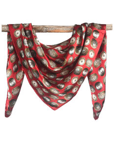 Fringe Scarves Women's Baby Concho Red Scarf, Red, hi-res