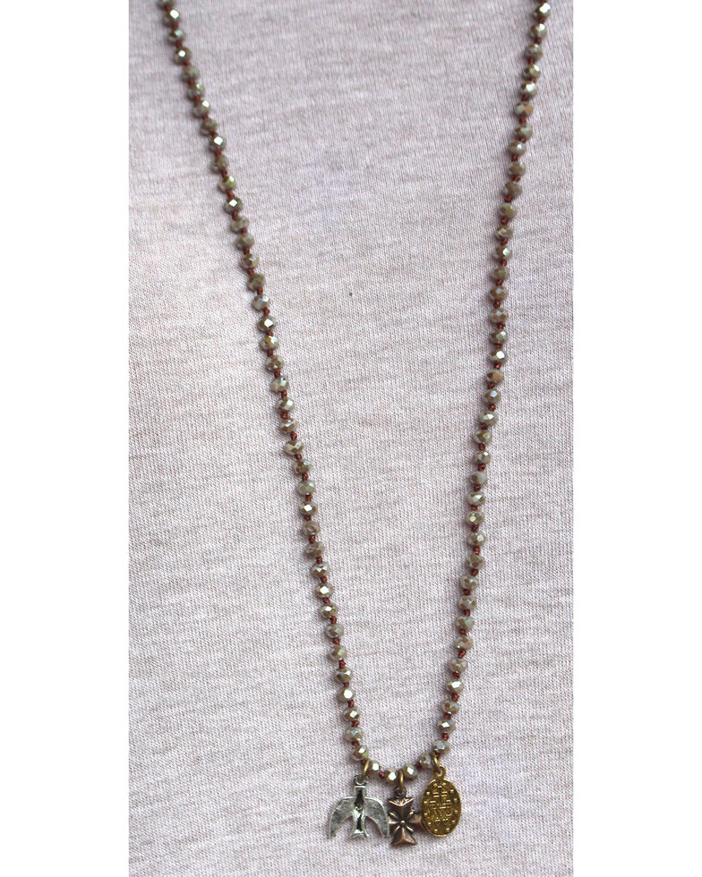 InspireDesigns Women's Black Crystal Rope Charm Necklace , Taupe, hi-res