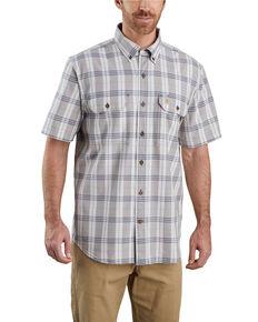 Carhartt Men's Steel Plaid Original Fit Midweight Short Sleeve Work Shirt - Big , Steel, hi-res