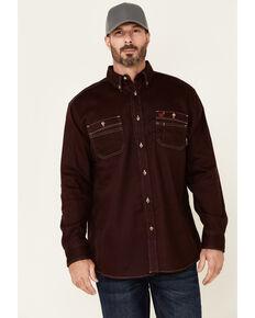 Ariat Men's FR Solid Malbec Long Sleeve Button-Down Work Shirt  , Burgundy, hi-res