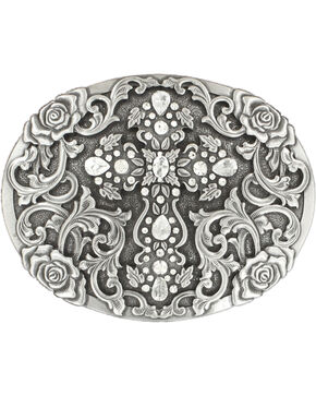 Nocona Women's Oval Cross Rhinestone Belt Buckle, Silver, hi-res
