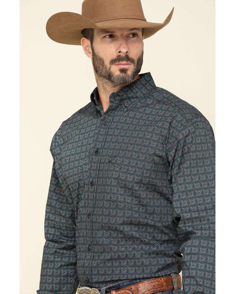 Tuf Cooper Men's Black Small Geo Print Long Sleeve Western Shirt , Charcoal, hi-res