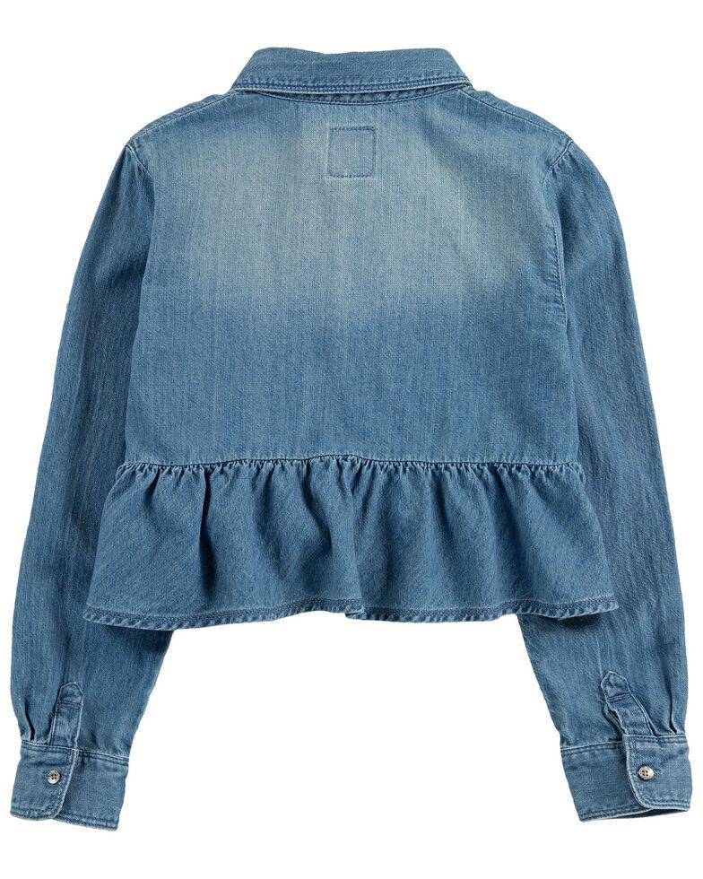 Levi's Girls' Vintage Denim Long Sleeve Button-Down Peplum Hem Top , Blue, hi-res