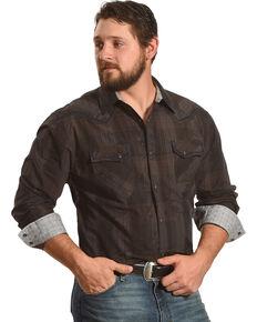 Moonshine Spirit Men's Brown Plaid Long Sleeve Western Shirt , Brown, hi-res