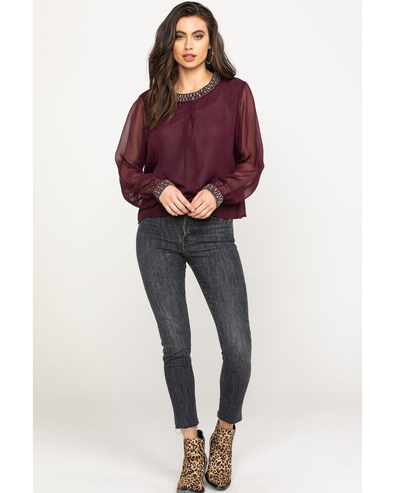 Ariat Women's Showtime Top, Wine, hi-res