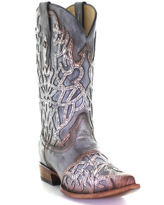 Corral Men's Overlay & Embroidery Western Boots - Square Toe, Grey, hi-res