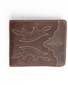 Cody James Men's Brown Blue Stitched Bi-Fold Leather Wallet , Brown, hi-res