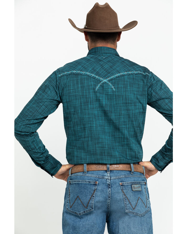 Rock 47 By Wrangler Men's Turquoise Solid Embroidered Long Sleeve Western Shirt , Teal, hi-res