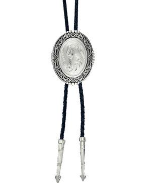 Montana Silversmiths Men's Oval Silver Engraved Bolo Tie, Silver, hi-res