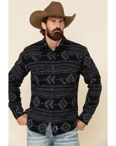 Wrangler Retro Men's Premium Black Aztec Stripe Long Sleeve Western Shirt , Black, hi-res
