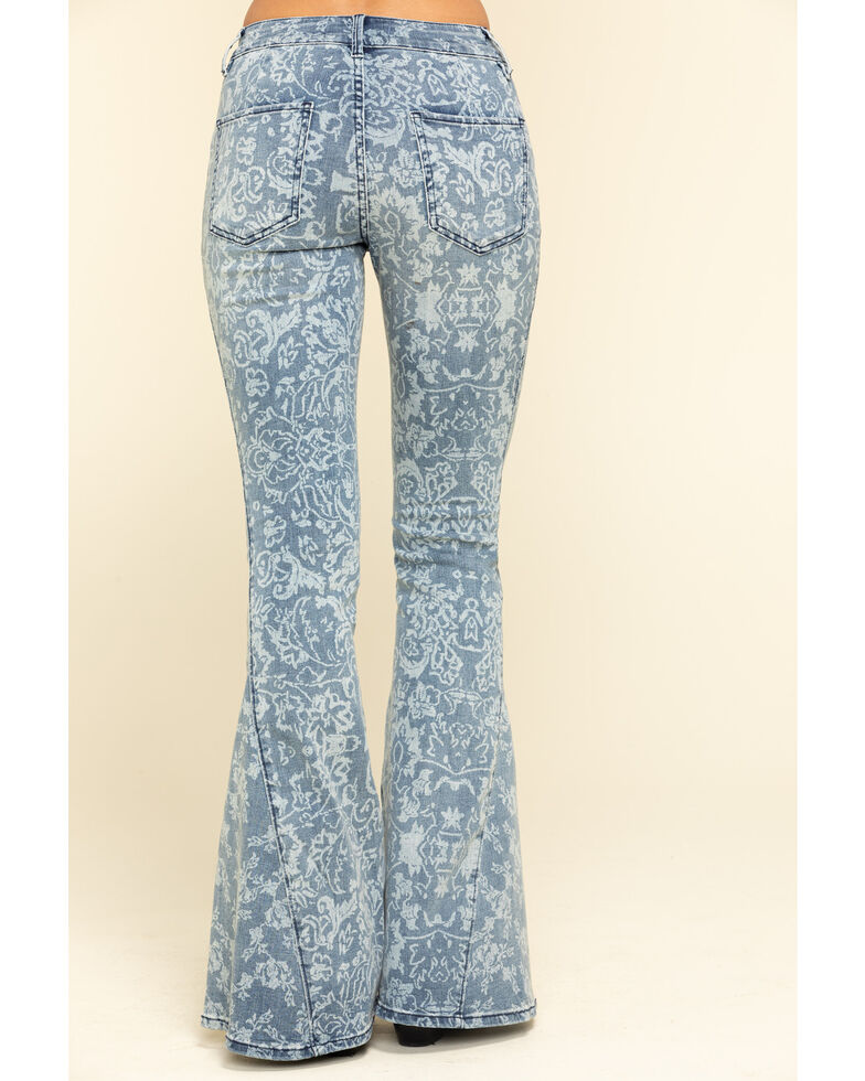 Free People Women's Medium Dream Lover Print Flare Jeans , Blue, hi-res