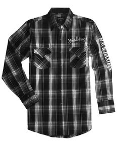 Jack Daniel's Men's Black Med Plaid Logo Long Sleeve Western Shirt , Black, hi-res