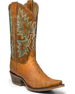 """Nocona Women's 12"""" Distressed Cowgirl Boots - Snip Toe, Tan, hi-res"""