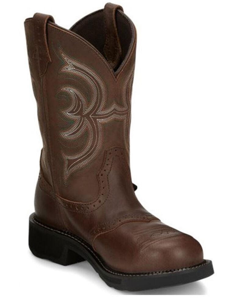 Justin Women's Wanette Western Work Boots - Steel Toe, Brown, hi-res