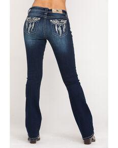 Miss Me Women's Dark Wash Low Rise Dream Catcher Bootcut Jeans, Blue, hi-res