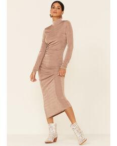 HYFVE Women's Brown Mockneck Knit Maxi Dress , Lt Brown, hi-res