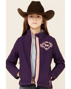 Shyanne Girls' Purple Horse Embroidered Zip-Front Softshell Jacket , Purple, hi-res