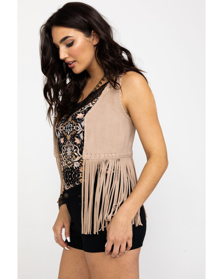 Idyllwind Women's New Strings Fringe Vest, Stone, hi-res