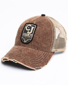 Cody James Men's Outlaw Territory Distressed Patch Ball Cap , Brown, hi-res