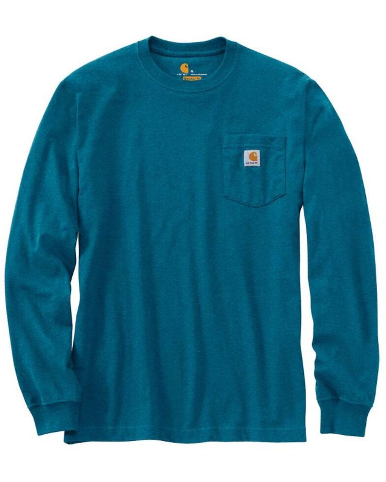 Carhartt Men's Ocean Blue Heather Pocket Long Sleeve Work T-Shirt - Big , Blue, hi-res