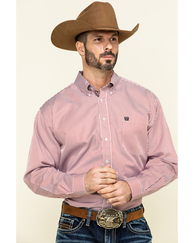 Cinch Men's Red Tencel Striped Long Sleeve Western Shirt - Big , Red, hi-res