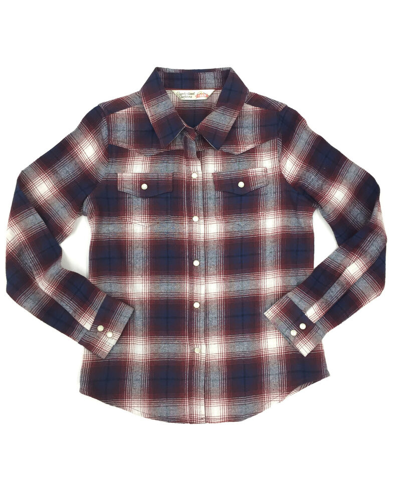 Ely Walker Girls' Rose Plaid Long Sleeve Western Flannel Shirt , Rose, hi-res