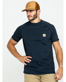 Carhartt Force Short Sleeve Work Shirt, Navy, hi-res