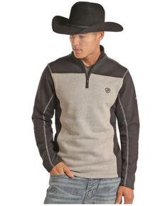 Rock & Roll Denim Men's FR Navy Color-Block 1/4 Zip Work Pullover , Navy, hi-res