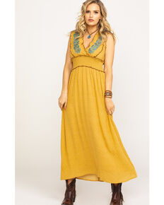 Mystree Women's Mustard Floral Embroidered Surplice Smocked Maxi Dress, Dark Yellow, hi-res