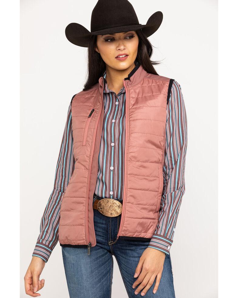 Justin Women's Pink Laminated Puff Vest, Pink, hi-res