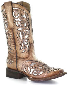Corral Girls' Beige Shiny Inlay Western Boots - Wide Square Toe, Tan, hi-res