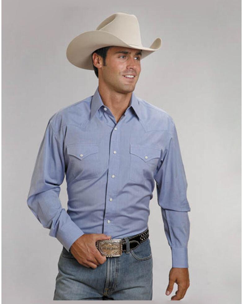 Stetson Men's Solid Snap Oxford Long Sleeve Western Shirt , Light Blue, hi-res