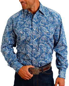 Stetson Men's Blue Paisley Print Long Sleeve Western Shirt, Blue, hi-res