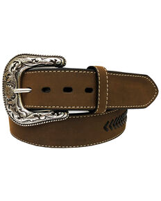 Roper Men's Tan Crazyhorse Strap Overlay Leather Belt , Tan, hi-res
