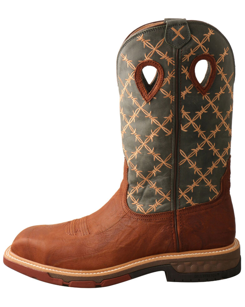 Twisted X Men's CellStretch Western Work Boots - Square Toe, Brown, hi-res