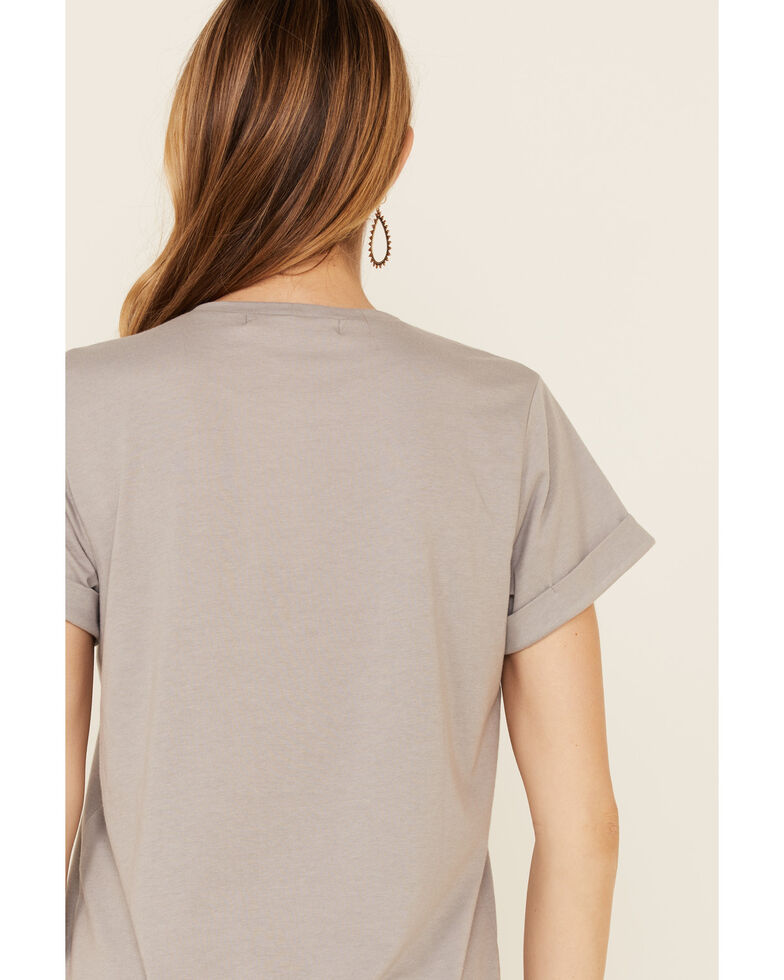 Cut & Paste Women's Whiskey In A Teacup Graphic Distressed Short Sleeve Tee , Grey, hi-res